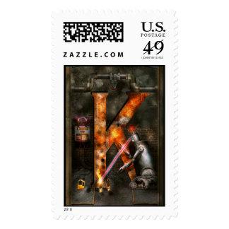 Steampunk - Alphabet - K is for Killer Robots Postage Stamp