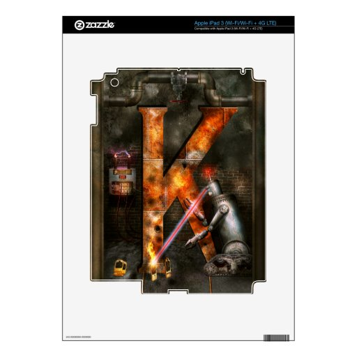 Steampunk - Alphabet - K is for Killer Robots Skin For iPad 3