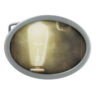 Steampunk - Alphabet - L is for Light Bulb Oval Belt Buckle