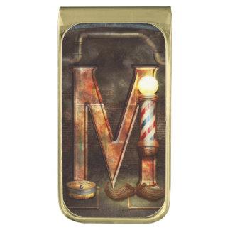 Steampunk - Alphabet - M is for Mustache Gold Finish Money Clip