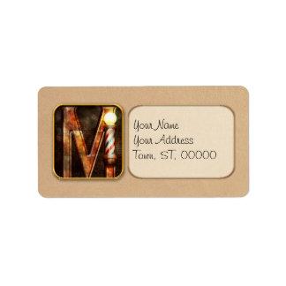 Steampunk - Alphabet - M is for Mustache Label