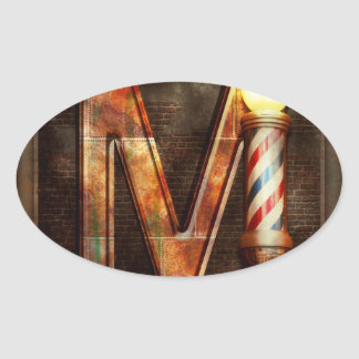 Steampunk - Alphabet - M is for Mustache Oval Sticker