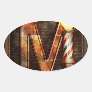 Steampunk - Alphabet - M is for Mustache Oval Sticker
