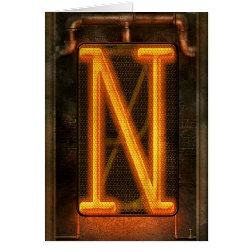 Steampunk - Alphabet - N is for Nixie Greeting Cards