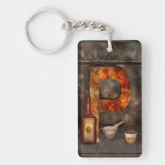 Steampunk - Alphabet - P is for Pharmacy Double-Sided Rectangular Acrylic Keychain