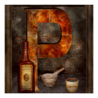 Steampunk - Alphabet - P is for Pharmacy Poster