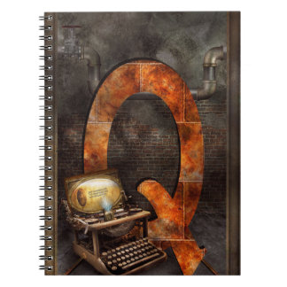 Steampunk - Alphabet - Q is for Qwerty Spiral Note Books