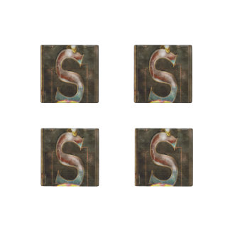 Steampunk - Alphabet - S is for Steam Stone Magnet