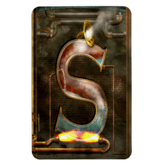 Steampunk - Alphabet - S is for Steam Rectangle Magnets