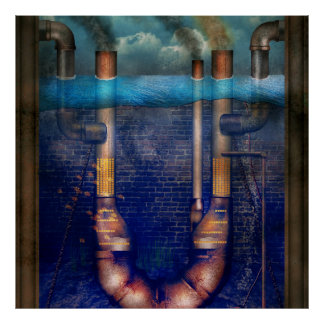 Steampunk - Alphabet - U is for Underwater Utopia Poster