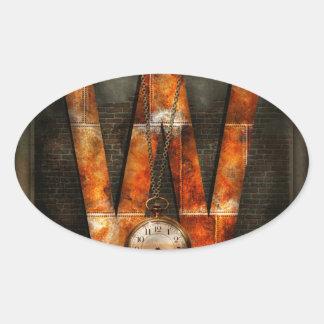 Steampunk - Alphabet - W is for Watches Oval Sticker