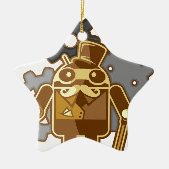 Steampunk android ceramic ornament