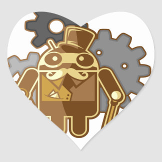 Steampunk android heart sticker