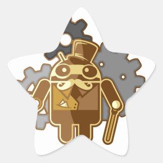 Steampunk Android Pegatina En Forma De Estrella