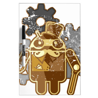 Steampunk android used look dry erase whiteboards
