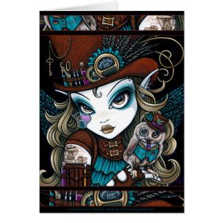 Steampunk Angel Owl Familiar Jewels Fairy Art Card