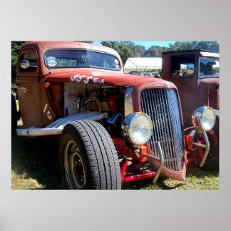 Steampunk antique retro custom funny cars poster