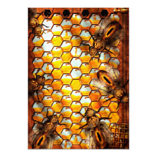 """Steampunk - Apiary - The hive 5"""" X 7"""" Invitation Card"""