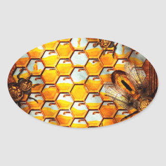 Steampunk - Apiary - The hive Oval Stickers