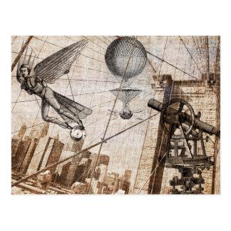 steampunk apparitions over the Brooklyn Bridge Postcard