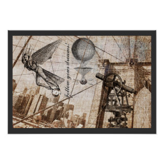 Steampunk apparitions over the Brooklyn Bridge Poster