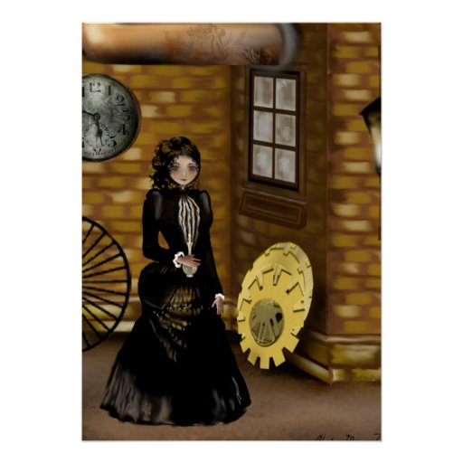 Steampunk Art Poster Searching for Baker Street