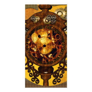 Steampunk,, awesome clock photo card