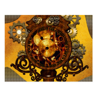 Steampunk,, awesome clock postcard