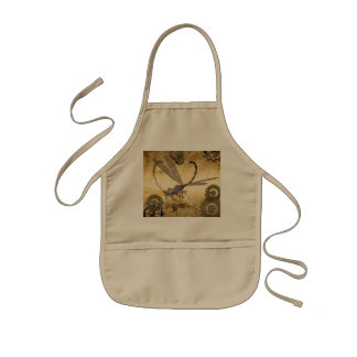Steampunk, awesome dragonflies with gears kids' apron