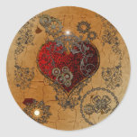Steampunk, awesome heart classic round sticker