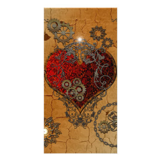 Steampunk, awesome heart photo card