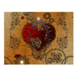 Steampunk, awesome heart postcard