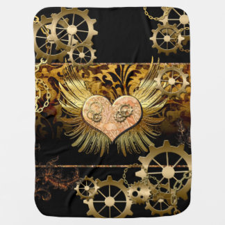 Steampunk, awesome heart swaddle blanket