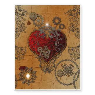 Steampunk, awesome heart temporary tattoos