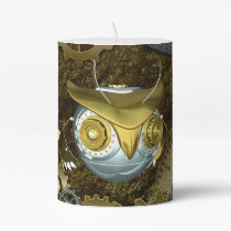 Steampunk, awesome   mechanical owl pillar candle