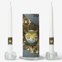 Steampunk, awesome   mechanical owl unity candle set