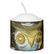 Steampunk, awesome   mechanical owl votive candle