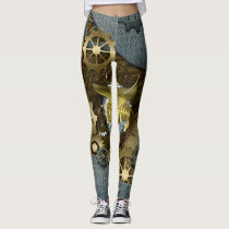 Steampunk, awesome   mechanical owl with gears leggings