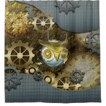 Steampunk, awesome   mechanical owl with gears shower curtain
