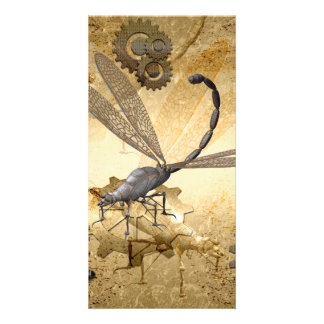 Steampunk, awesome steam dragonflies card