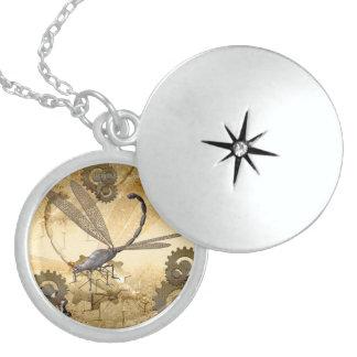 Steampunk, awesome steam dragonflies round locket necklace