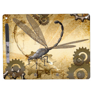 Steampunk, awesome steam dragonflies with gears dry erase board with keychain holder