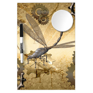 Steampunk, awesome steam dragonflies with gears dry erase board with mirror