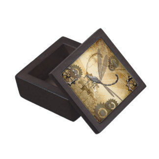 Steampunk, awesome steam dragonflies with gears keepsake box