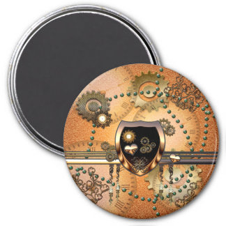 Steampunk, awsome shield with hearts 3 inch round magnet
