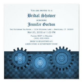 """Steampunk azul adapta la ducha nupcial invita invitación 5.25"""" x 5.25"""""""