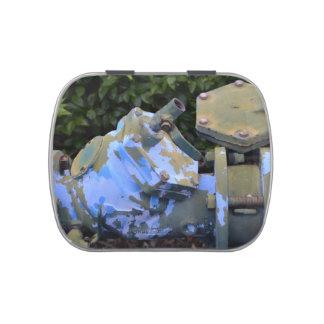 steampunk azul de la escama de la pintura de la latas de dulces