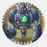 Steampunk azul grande Robo Pegatina Redonda