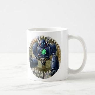 Steampunk azul grande Robo Taza Clásica