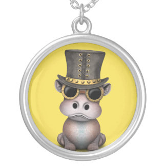 Steampunk Baby Hippo Silver Plated Necklace